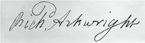 Richard Arkwright Signature