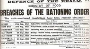 a first world war rationing