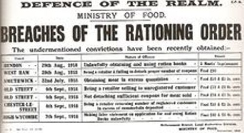 a first world war rationing