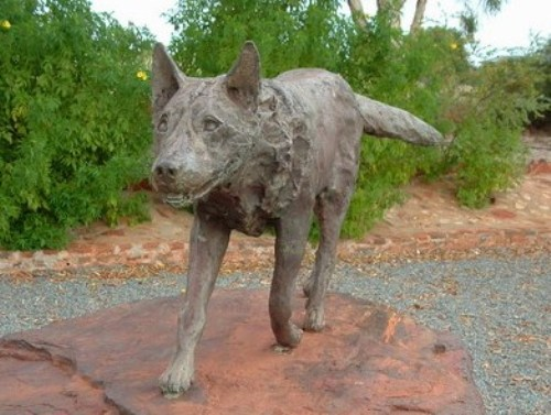 Red Dog Statue